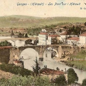 Old Postcard with La Maison du Pont vieux